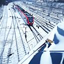 Train tracks covered in snow, Berlin, Germany - MVC000099
