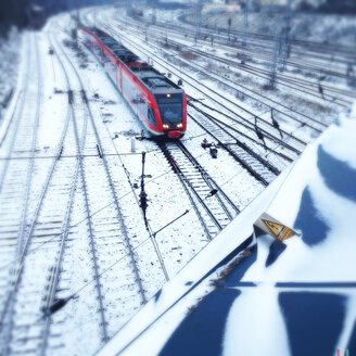 Train tracks covered in snow, Berlin, Germany - MVC000099