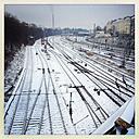 Train tracks covered in snow, Berlin, Germany - MVC000096