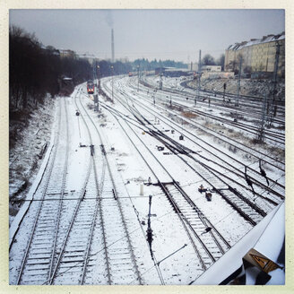 Train tracks covered in snow, Berlin, Germany - MVC000096