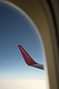 Wing of an Air Berlin aircraft seen through a window of the cabin - LB000535