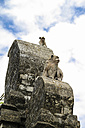 Indonesia, Bali, Bukit Pensinsula, monkey temple Uluwatu, two monkeys watching something - KRP000225