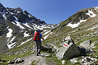 Austria, Vorarlberg, Woman hiking at Grafierjoch and Schafberg - SIEF005045