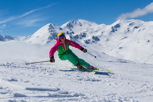 Switzerland, Graubuenden, Obersaxen, female Skier - EGF000001