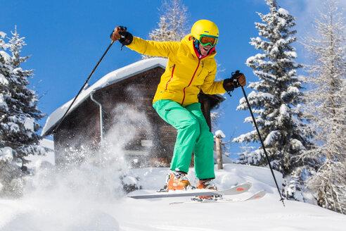 Switzerland, Graubuenden, Obersaxen, female Skier - EGF000037