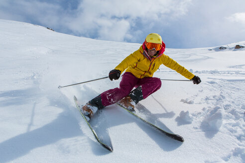 Switzerland, Graubuenden, Obersaxen, female Skier - EGF000043