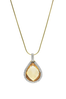 Pendant with large citrine gemstone framed with diamonds at gold necklace in front of white background - JAWF000011