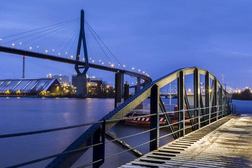 Germany, Hamburg, The Koehlbrandbruecke in the Port of Hamburg - NKF000057