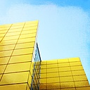Yellow facade and Glass elements of a tall Building, Hamburg germany - NKF000052