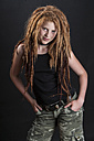Portrait of teenage girl with red hair dreadlocks - EG000083