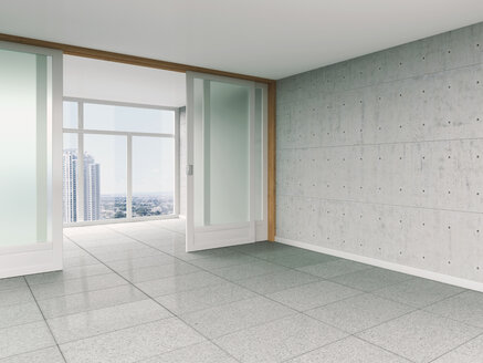 Empty room with sliding door and concrete wall, 3D rendering - UWF000021