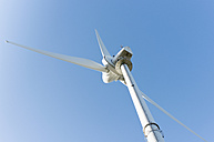 Germany, North Rhine-Westphalia, Aachen, view to wind turbine from below - HLF000382