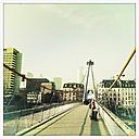 Views of the Frankfurt skyline from Holbeinsteg from, Frankfurt, Hesse, Germany - MS003235