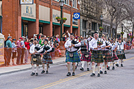 USA, Texas, San Antonio, Grand opening parade of the 2014 Rodeo, Bagpipe music band - ABA001239