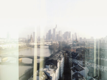 Frankfurt skyline reflected in a window, Frankfurt, Germany - MSF003287