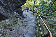 Germany, Saxony, National Park Saxon Switzerland, Elbe Sandstone Mountains, steps down from Lilienstein - RUEF001205