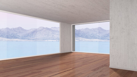 Empty room with parquet flooring, 3D rendering - UWF000022