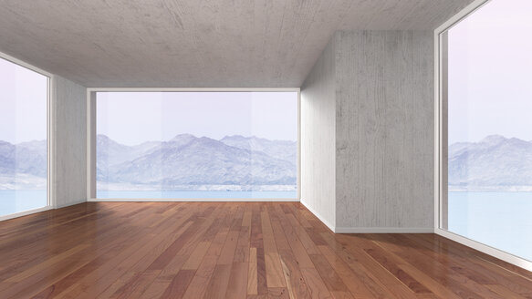 Empty room with parquet flooring, 3D rendering - UWF000024