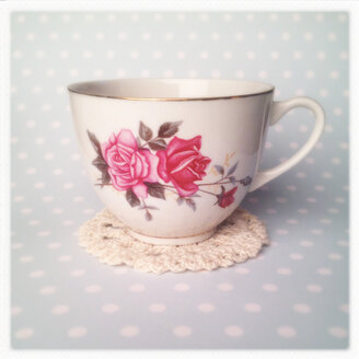 Tea Cup on light blue background, Floral Decorations, polka dots lace, - MVC000119