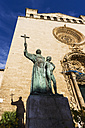 Spain, Majorca, Palma, Statue in front of church - THAF000059