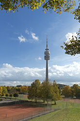 Germany, Bavaria, Munich, View of Olympiapark with Olympic Tower - LAF000573