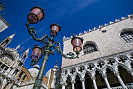 Italy, Venice, Doge's Palace, St. Mark's Cathedral and street lantern - EJWF000256