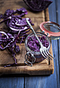 Red cabbage in preserving jar and fork, sliced red cabbage on chopping board - SBDF000597