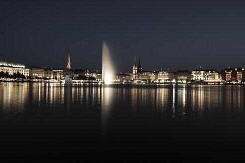 Germany, Hamburg, Binnenalster with skyline at blue hour - KRP000287