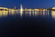 Germany, Hamburg, Binnenalster with skyline at blue hour - KRP000289