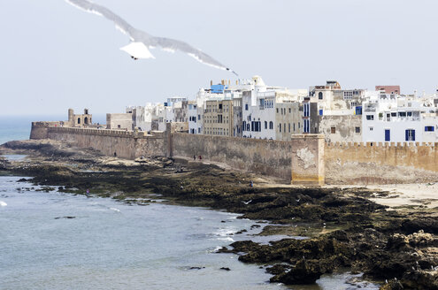 Morocco, Essaouira, Kasbah, cityscape with ocean - THAF000095