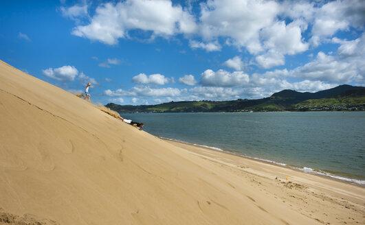 New Zealand, North Island, Northland, Hokianga, North Head, sandboarding father with running son - JB000057