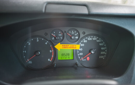 New Zealand, sticker on tachometer, reminder for left hand driving - JB000061