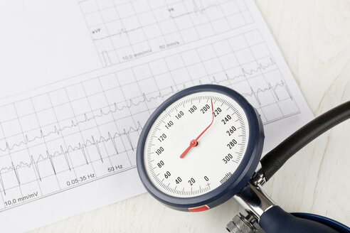 Blood pressure gauge with twisted needle, in the background a ecg, close up - DRF000520