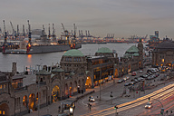 Germany, Hamburg, View to St. Pauli Landing Stages and harbour in the evening - ZMF000259