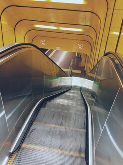 Looking down subway escalators in Bonn, North Rhine-Westphalia, Germany - MEA000135