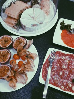 Breakfast buffet with cheeses and meat as well as fruits and fish - MEAF000159