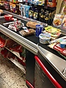 Supermarket conveyor belt with foods, Bonn, NRW, Germany - MEA000164
