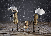Three peanuts building family with one child in the rain made of salt grains - NIF000006