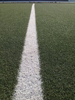 Line on green soccer field, Bonn, North Rhine-Westphalia, Germany - MEAF000204