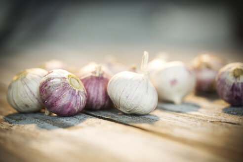 Garlic on wooden table - MAEF007904