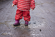 Toddler playing with a puddle of mud, partial view - IPF000026