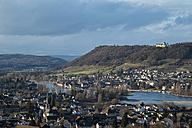 Switzerland, Thurgau, View from Eschenz to Rhine river and Stein am Rhein with Hohenklingen castle - ELF000873