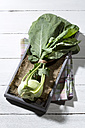 Cabbage turnip (Brassica oleracea) on jute, wooden plate and table - MAEF007925
