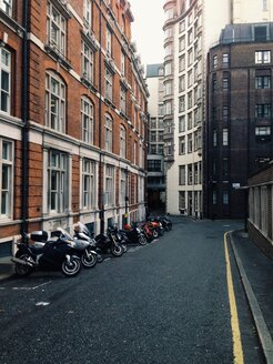 Street with motorcycles in London, UK - MEAF000119