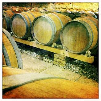 Wine cellar with Oak Barrels, selective focus - IP000039
