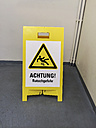 Cleaned staircase with warning: Slippery - HLF000404