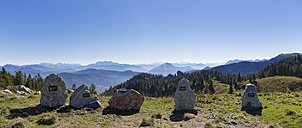 Germany, Upper Bavaria, Bavaria, Chiemgau Alps, Aschau, Chiemgau, Kampenwand, stones of different mountains as panoramic map - SIEF005103