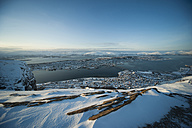 Norway, Troms, Tromso, View from Storsteinen, Cityscape, Tromso Bridge in winter - PAF000448