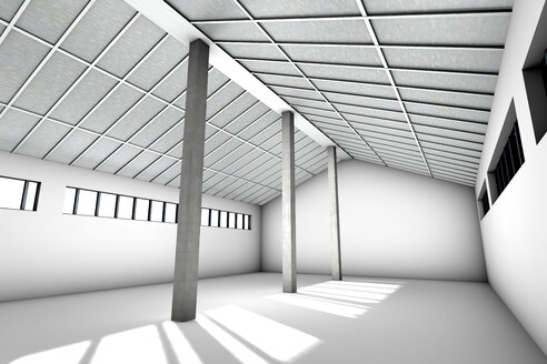Architecture visualization of an empty industrial building, 3D Rendering - SPCF000017