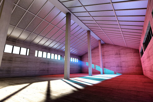 Architecture visualization of an empty industrial building, 3D Rendering - SPCF000014